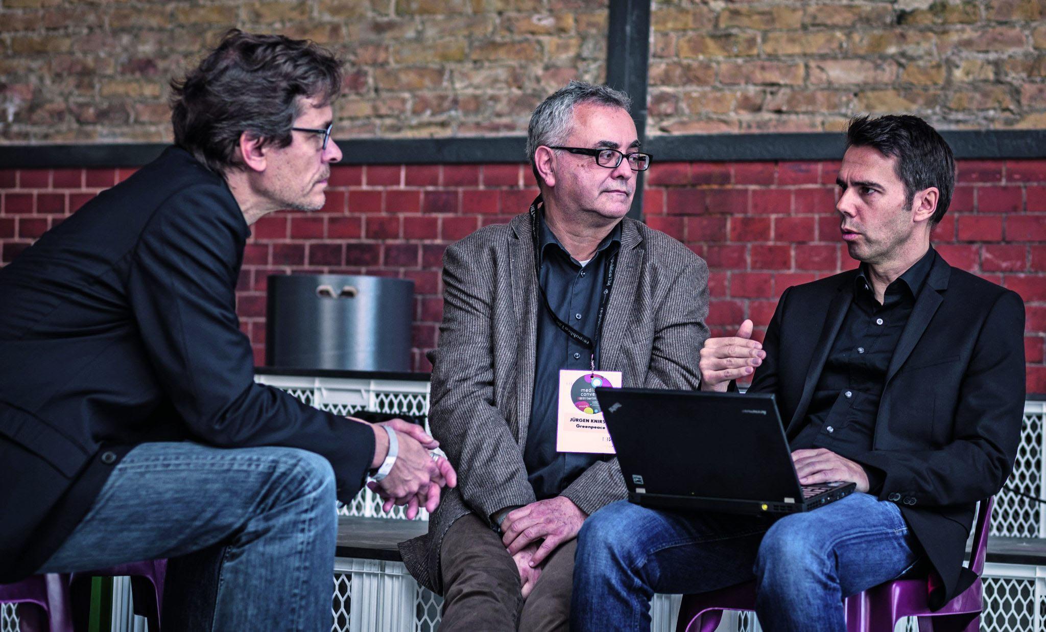 Sie präsentierten TTIP-Leaks auf der re:publica (v. l.): Stefan Krug, Jürgen Knirsch und Volker Gaßner.