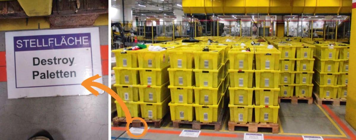In Amazon-Logistikzentren stehen gestapelte Kisten, gefüllt mit zurückgeschickten, gebrauchsfähigen Retouren. Die auf dem Boden klebenden Zettel verraten, was damit geschehen soll: Sie werden zerstört