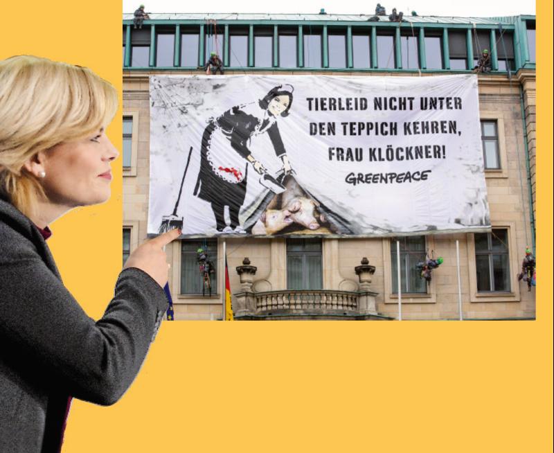 Vieles unter den Teppich gekehrt – mit diesem riesigen Bannermotiv bilanziert Greenpeace das erste Jahr von Julia Klöckner als Agrarministerin