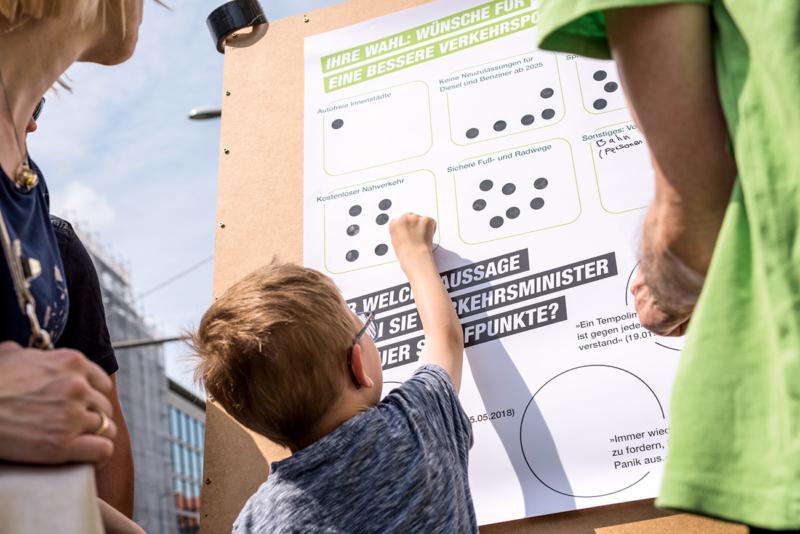 Greenpeace-Gruppen fragen Passanten in 42 Städten nach ihren Wünschen für eine klimafreundliche Verkehrspolitk