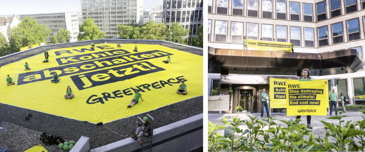 Protest bei der RWE-Zentrale in Essen: Greenpeace-Aktivisten fordern das Aussetzen des Kohleabbaus, den Erhalt des Hambacher Waldes sowie der durch Braunkohletagebaue bedrohten Dörfer