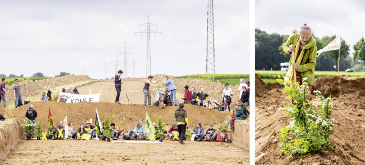 Weil RWE die Klimakrise noch immer ignoriert, pflanzen Umweltaktivisten in der Nähe des Hambacher Waldes Bäume (links) und protestieren gegen den Bau einer Grubenrandstraße, die nur gebraucht wird, wenn weitere Dörfer zerstört werden