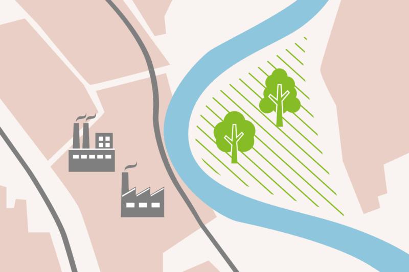 Bei Dormagen trennt der Rhein naturbelassene Landschaftsabschnitte von Chemie- und Plastikindustrie