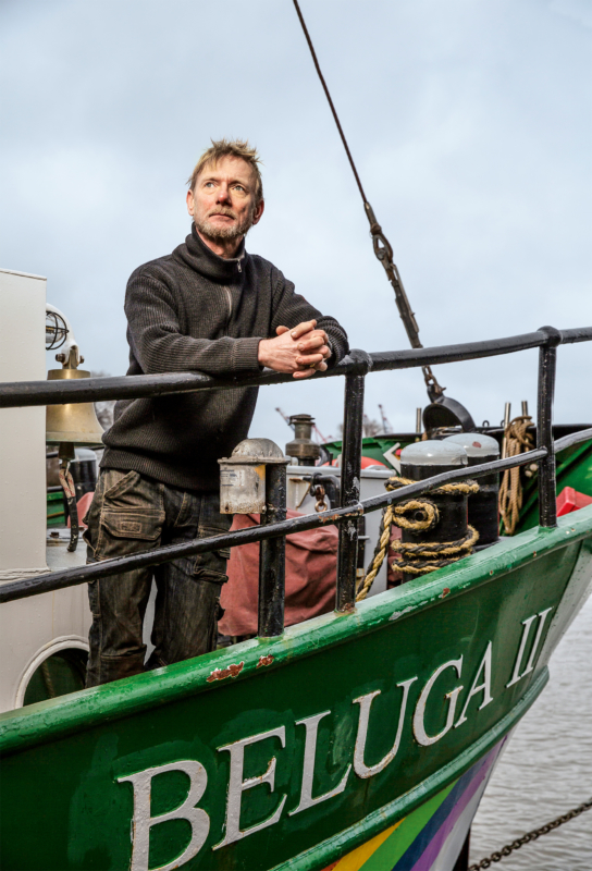 Uwe Linke, von Anfang an Kapitän des 2004 fertiggestellten Seglers Beluga II