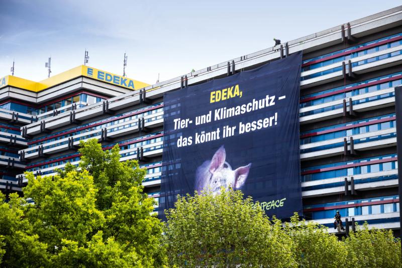 Mit diesem 17 mal 21 Meter großen Banner protestierten Greenpeace-Aktive für mehr Tierwohl bei Edeka